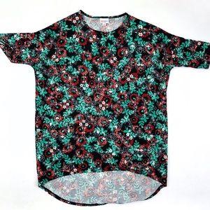 LuLaRoe Irma black red green floral tunic top
